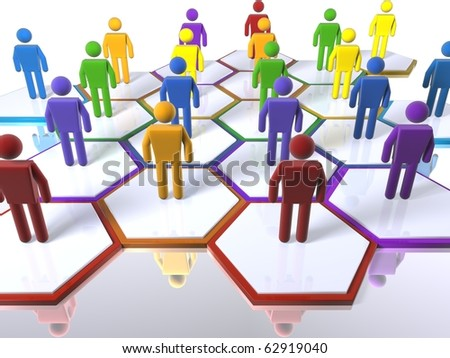 3D figures standing in cells as part of a model of a team with an emphasis on diversity