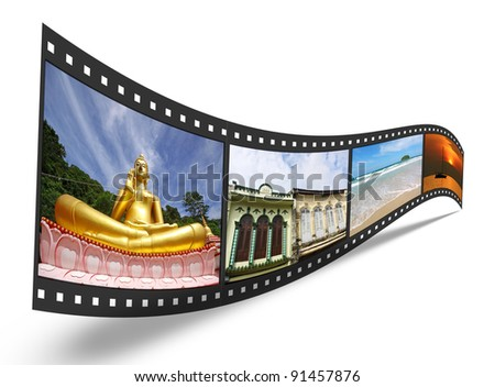 3D film strip with nice pictures of Phuket Thailand, concept of tourism in Phuket