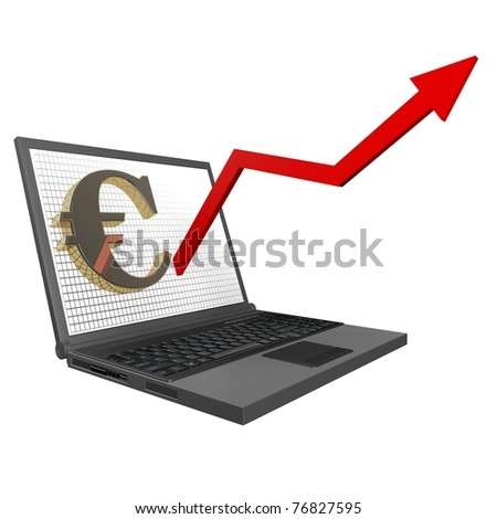 3d Financial Statistics euro, rising graph of the laptop up on a white background