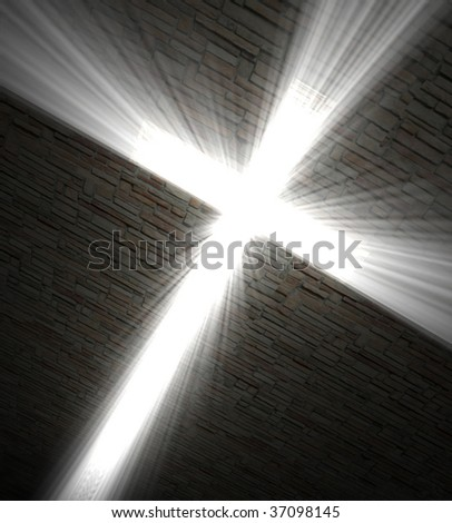 3d fine  image,  Christian cross of light background