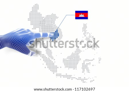 3d Finger touch on  display Cambodia map and flag.