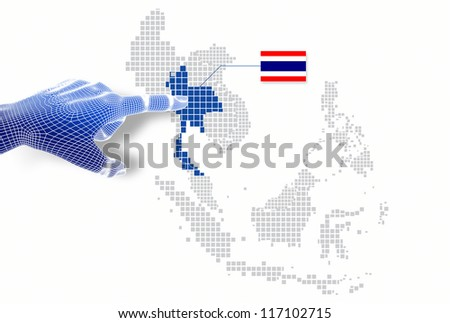 3d Finger touch on  display Thailand map and flag.