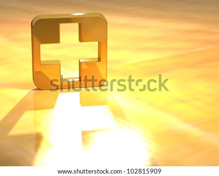 3D First-aid Gold Sign over yellow background