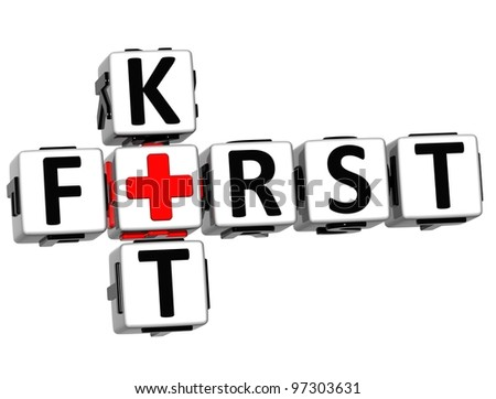 3D First Kit Crossword Block Button text over white background
