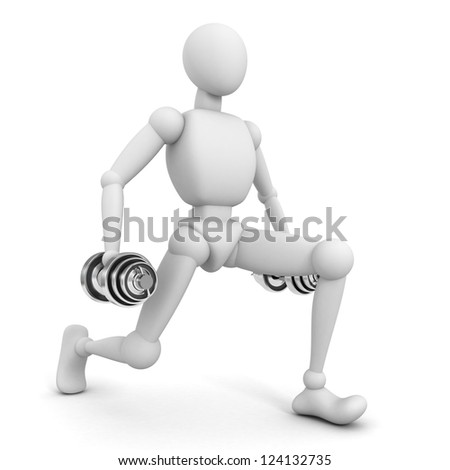 3d fitness man with dumbbells