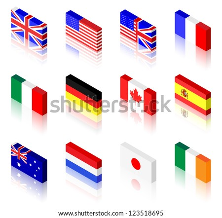 3D flag illustrations. UK, America, France, Italy, Germany, Canada, Spain, Australia, The Netherlands, Japan and Ireland #123518695