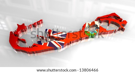 3d flag map of bermuda