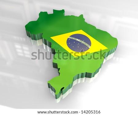 3d flag map of brazil - stock photo