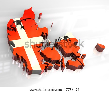 3d flag map of denmark