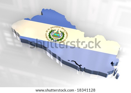 3d flag map of El Salvador