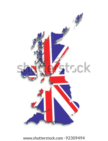 3D flag map of Great Britain on white isolated