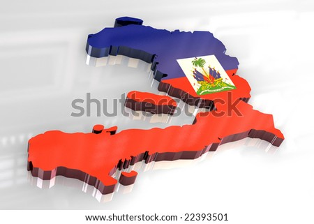 map of haiti. 3d flag map of Haiti