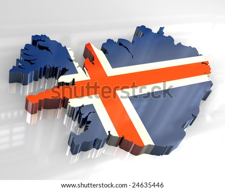 3d flag map of Iceland - stock photo