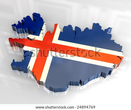 3d flag map of Iceland