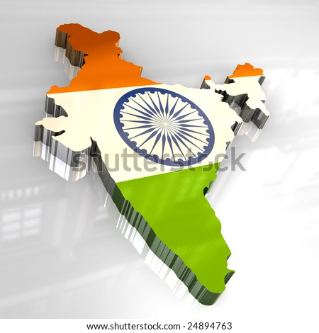 3d flag map of India