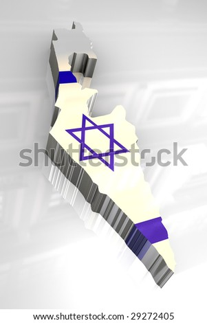 3d flag map of Israel