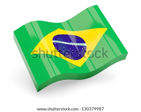 3d flag of Brazil isolated on white - stock photo