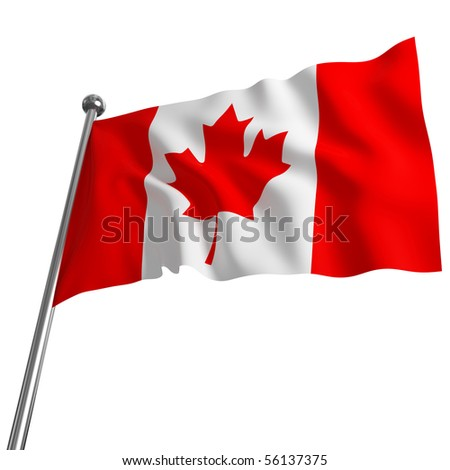 3d flag of canada on white background