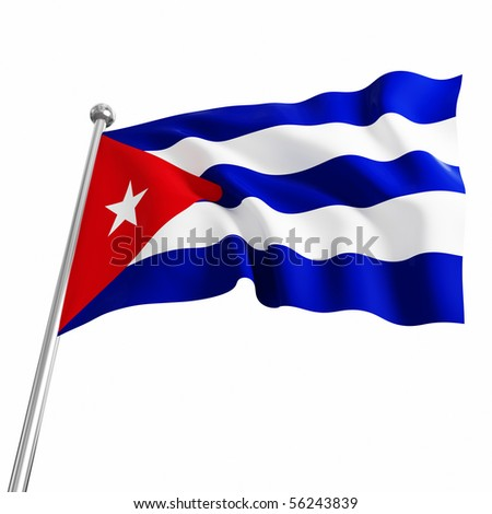 3d flag of cuba on white background stock photo 56243839