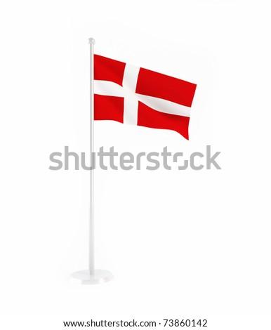 3D flag of Denmark
