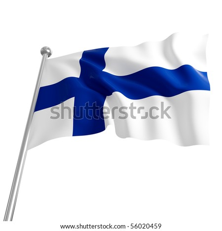 3d flag of finland on white background - stock photo