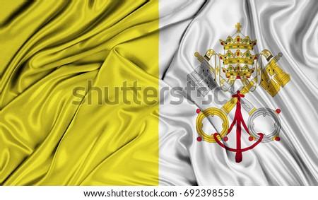 3d flag of vatican city holy...
