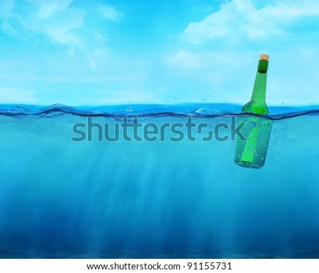 3d floating bottle with message on the ocean waterline view