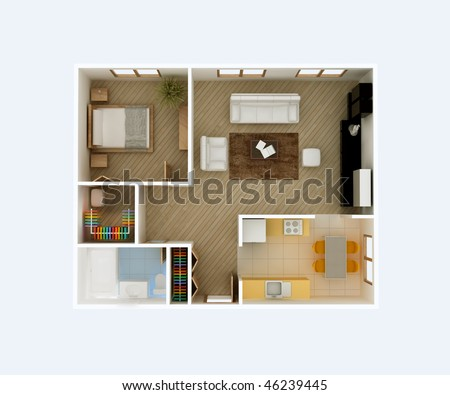 3D floor plan of a house. Kitchen, Dining, Living, Bedroom, Wolk in Closet, Hall, Bathroom. Rooms Overhead Top View. - stock photo