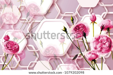 3d Floral abstract wallpaper for walls, 3d rendering.