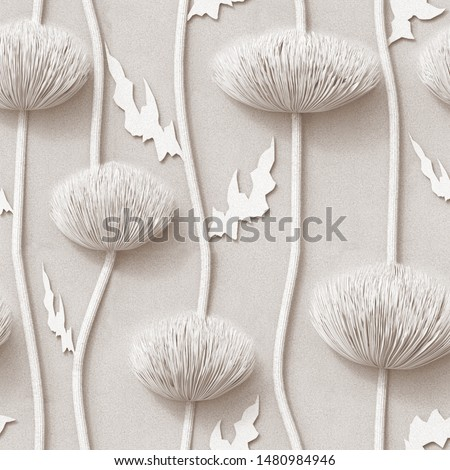3d,  floral wallpaper, white background, seamless