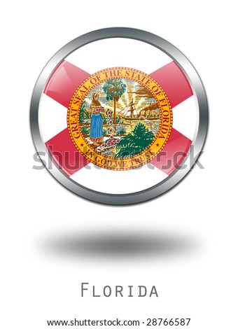 3D Florida  Flag button illustration on a white background