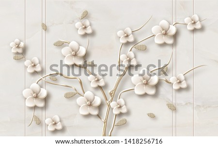 3D FLOWER LEAVE AND BRANCHES WITH MARBLE TEXTURE - Illustration