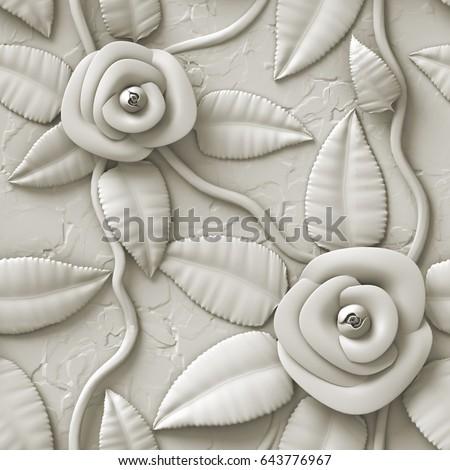 3d flowers, seamless