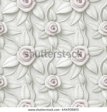 3d flowers, seamless