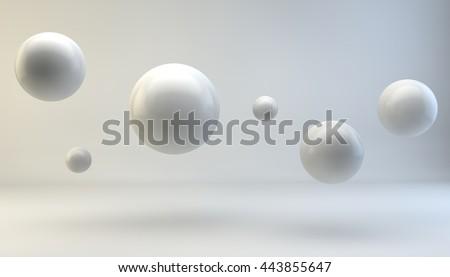 3d flying balls
