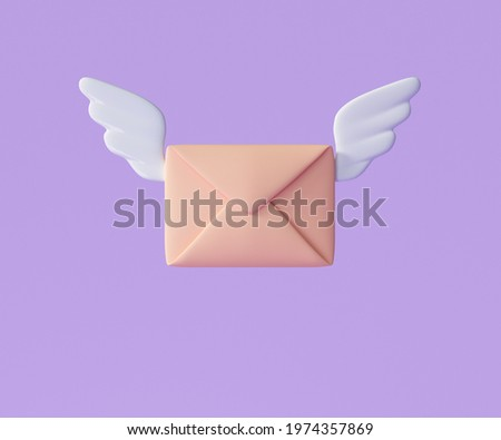 3D Flying envelope wings, incoming mail notify, newsletter and online email concept. 3d render illustration