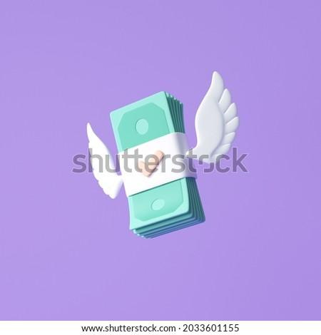 3D Flying stack of money on purple background. money spending, cashless society concept. 3d render illustration