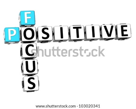 3D Focus Positive Crossword on white background