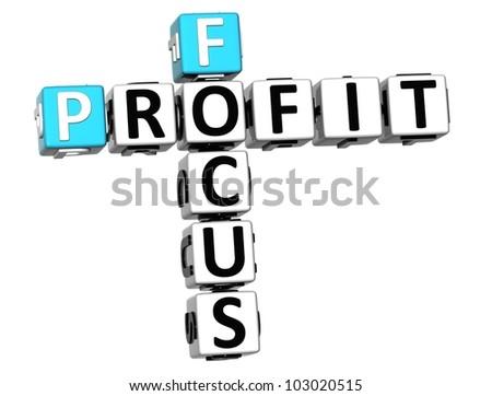 3D Focus Profit Crossword on white background