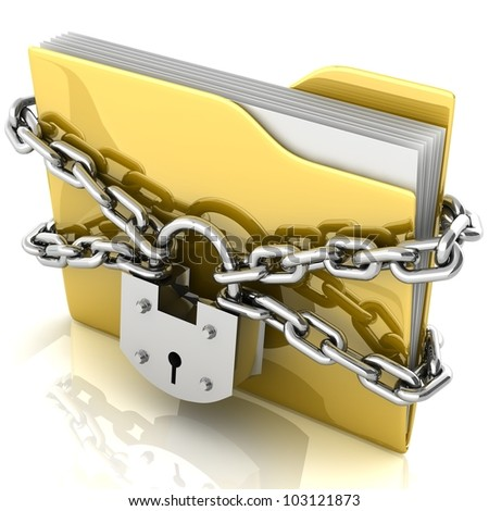 3D folder locked by chains isolated over white.
