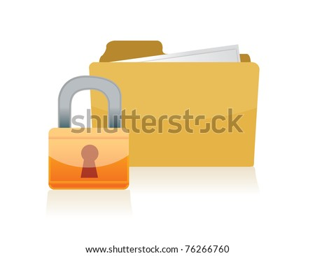 3d folder locked illustration design isolated over a white background