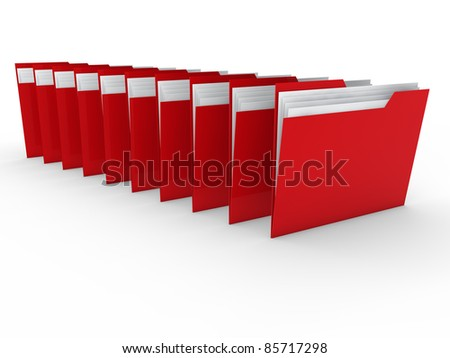 3d folder red file paper data business