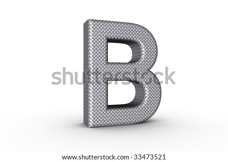 3D Font Alphabet Letter B in diamond metal tread plate texture on white Back Drop.