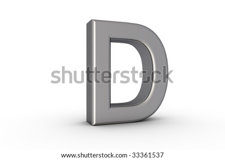 3D Font Alphabet Letter D in chrome texture on white Back Drop