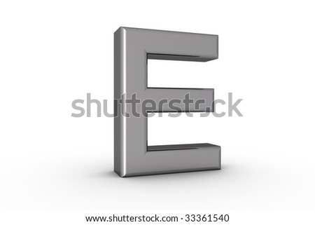3D Font Alphabet Letter E in chrome texture on white Back Drop