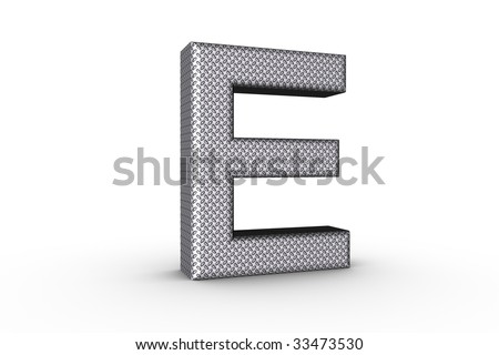 3D Font Alphabet Letter E in diamond metal tread plate texture on white Back Drop.