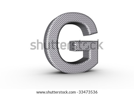 3D Font Alphabet Letter G in diamond metal tread plate texture on white Back Drop.