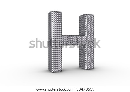 3D Font Alphabet Letter H in diamond metal tread plate texture on white Back Drop.