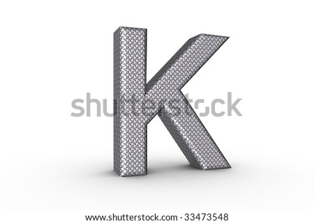 3D Font Alphabet Letter K in diamond metal tread plate texture on white Back Drop.