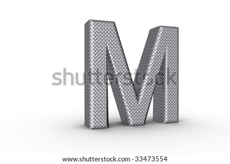 3D Font Alphabet Letter M in diamond metal tread plate texture on white Back Drop.